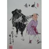 牧牛图-曹凌云国画