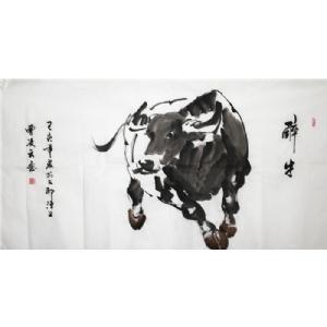 醉牛图 -曹凌云国画