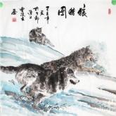 狼猎图-曹凌云国画