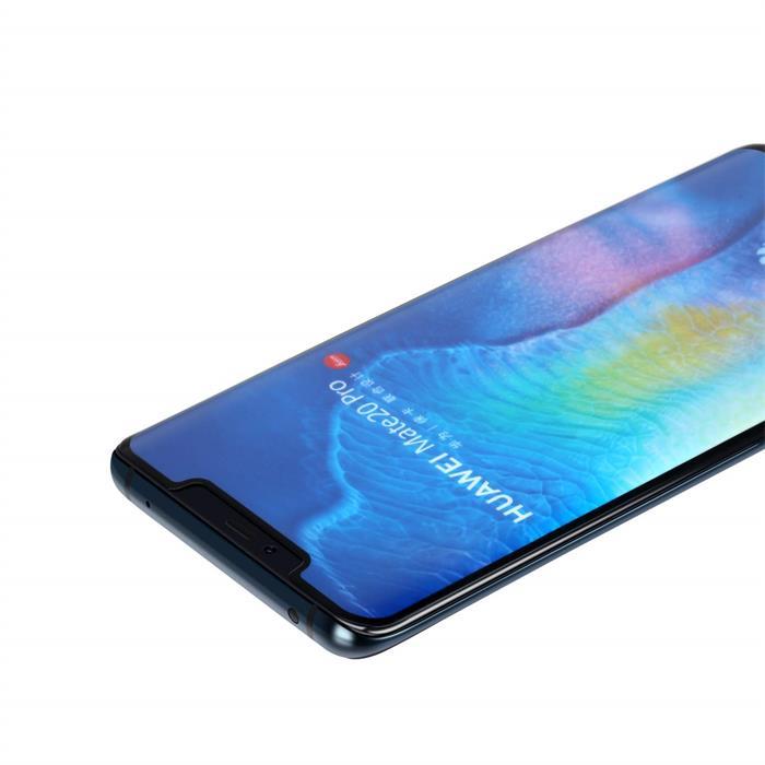 产品名称:华为mate20 PRO曲面全胶手机贴膜钢化膜 0.3mm超薄 日本旭硝子 9H硬度防爆防刮花 高清清透保护膜 HUAWEI mate20 Pro适用