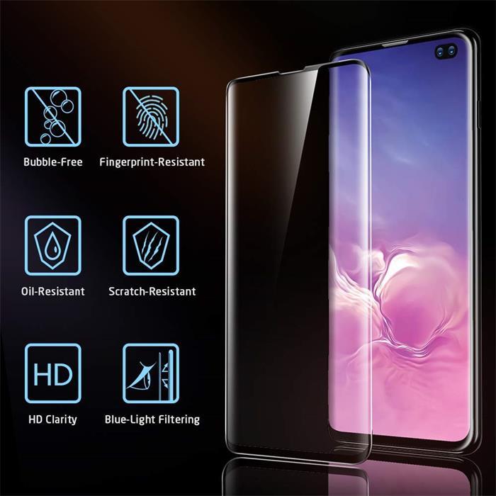 三星S10曲面全胶 Galaxy S10 手机贴膜屏幕保护膜 [无气泡] [9H 硬度] [防刮] 钢化玻璃屏幕保护膜适用于三星 Galaxy S10-