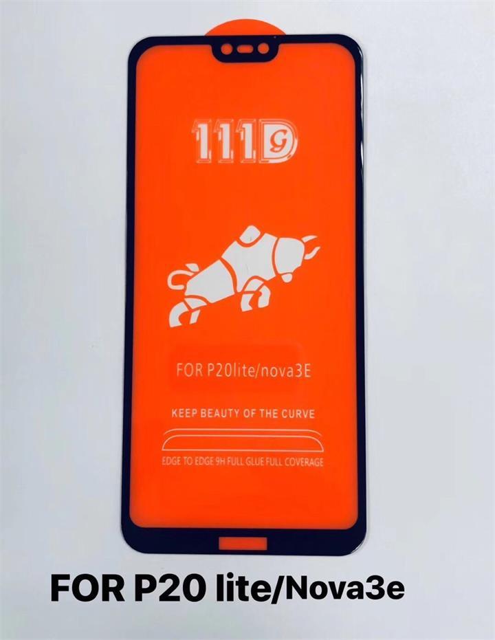 华为p20lite/NOVE 3E全屏大弧满屏111D二强丝印手机贴膜钢化玻璃屏幕防爆保护