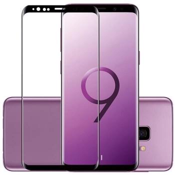 三星S9+钢化膜 全屏曲面 SAMSUN 防爆膜 耐用防划 S9 Plus 手机膜 手机屏幕保护膜 3D超清晰9H硬度 无气泡 圆边设计 附带透明壳碳纤维后膜 适用于三星S9 Plus(三星S9 6.2寸, 标准全屏版)