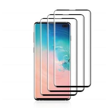 三星Galaxy S10 Plus 手机贴膜屏幕保护膜,高清透明无气泡 9H 硬度钢化玻璃屏幕保护膜,兼容三星盖乐世 S10 Plus/S10+(支持屏幕内指纹 ID)