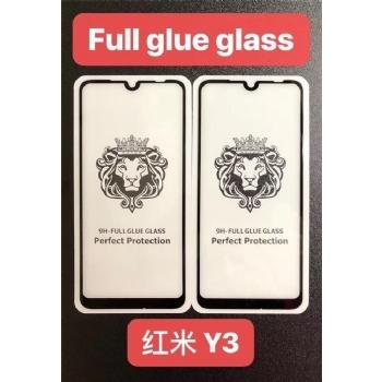 红米Y3狮子头全屏大弧满屏9D二强丝印钢化玻璃屏幕保护防爆膜