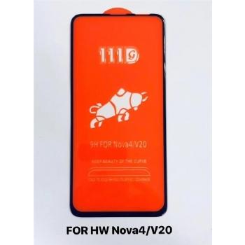 华为Nova4/V20全屏大弧满屏111D二强丝印手机贴膜钢化玻璃屏幕防爆保护膜