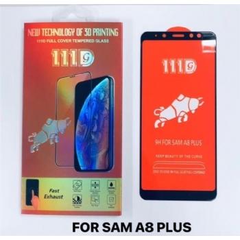 三星SAM A8 PLUS全屏大弧满屏111D二强丝印手机贴膜钢化玻璃屏幕防爆保护膜