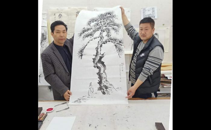 翰林院文化艺术中心主任付小旗到中国国学书画院会见张峰院长