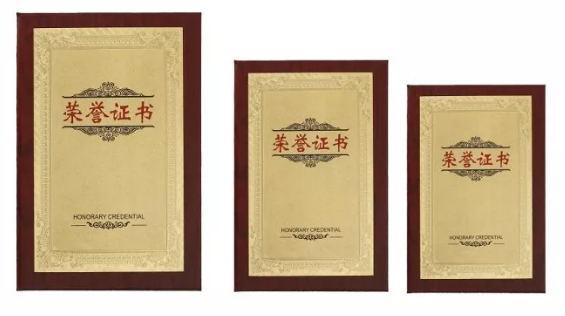 木纹金铂荣誉证书