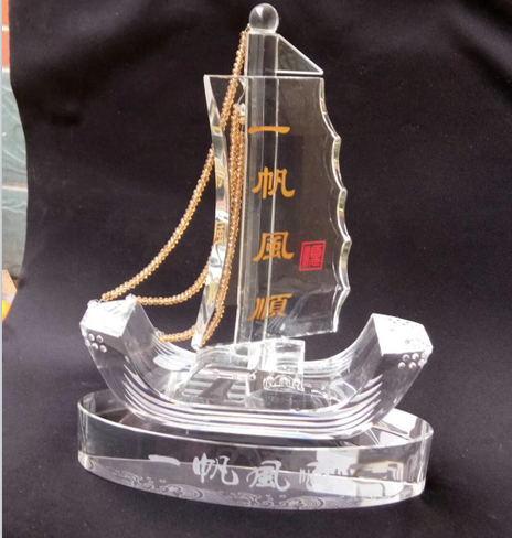 水晶帆船模型定做-一帆风顺