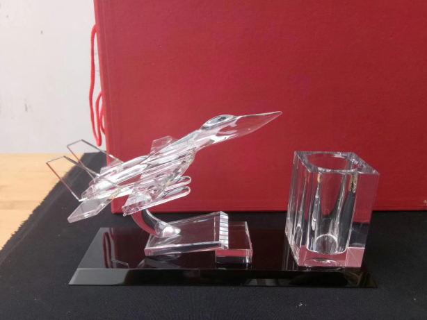 水晶摆件礼品定制-飞机+笔筒