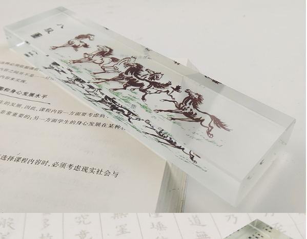 水晶镇纸-八骏图