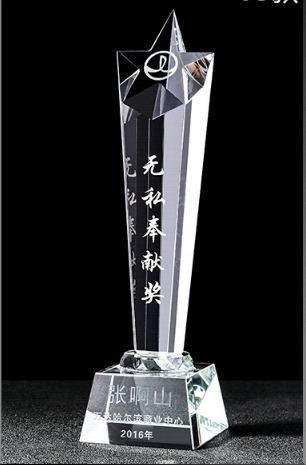 广州水晶奖杯-无私奉献奖